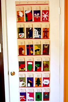 advent calendar made from a shoe rack to put little gifts inside:) Might have to make one for next year