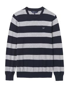 d18abb9b568 Buy our Men s Oxford Stripe Jumper for £60 available in Mid Grey Marl Navy