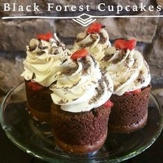 Black Forest Cupcakes :: Chocolate cake with pastry cream filling and tart cherries.