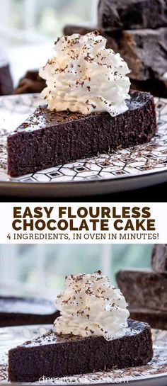 Flourless Chocolate Cake with just 4 ingredients and 5 minutes of prep time. Flourless Chocolate Cake with just 4 ingredients and 5 minutes of prep time. Perfect for Passover, Easter or anytime you want the richest, easiest cake. Flourless Chocolate Torte, Flourless Desserts, Gluten Free Chocolate Cake, Köstliche Desserts, Chocolate Desserts, Cake Chocolate, Best Chocolate Torte Recipe, Passover Dessert Recipes, Flourless Mug Cake