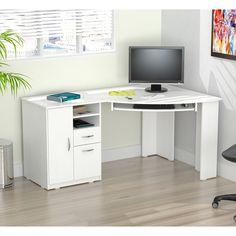 Corner Desk Layout Industrial Design – Home office design layout White Corner Computer Desk, Modern Corner Desk, Computer Desk Design, Corner Office, Computer Desks, Modern Desk, Computer Diy, Bureau Design, Cabinet Design