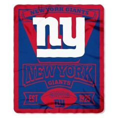 "SHOW YOUR LOVE AND SUPPORT FOR YOUR NEW YORK GIANTS! THESE 50""X60"" FLEECE THROW BLANKETS ARE 100% POLYESTER AND ARE PERFECT FOR ANY GIANTS DIE-HARD FAN."