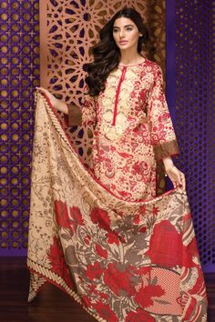 khaadi Eid Lawn Collection Unstitched 2 Piece Suit M16303 A in Beige. #LawnCollection #EidCollection2016