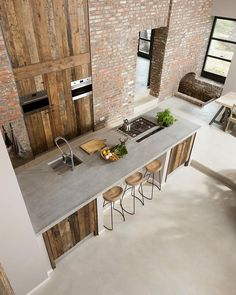 Exposed brick and reclaimed wood! This kitchen is designed by ÇA-VA! Interieur and is located in // Photo by Nicole Minneboo - Architecture and Home Decor - Bedroom - Bathroom - Kitchen And Living Room Interior Design Decorating Ideas - Beautiful Kitchen Designs, Contemporary Kitchen Design, Beautiful Kitchens, Cool Kitchens, Rustic Contemporary, Rustic Modern, Rustic Chic, Rustic Wood, Barn Wood