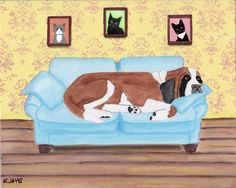 I guess it's HIS couch now - Funny St. Bernard card for all who love these gentle giants.
