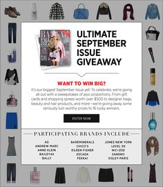 ENTER TO WIN 16 HUGE prizes in our Ultimate September Issue Giveaway! #sweepstakes #shopbazaar - http://shop.harpersbazaar.com/giveaway/september-sweepstakes