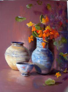 Soft Pastel Art, Pastel Drawing, Flower Canvas, Flower Art, Crayons Pastel, Still Life Art, Chalk Pastels, Art Plastique, Oeuvre D'art