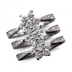 Flower Journey Rhodium Ring - Ladies Jewelry