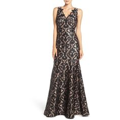 Women's Adrianna Papell Guipure Lace Mermaid Gown ($399) ❤ liked on Polyvore featuring dresses, gowns, black nude eve, gothic ball gowns, lace mermaid gown, mermaid gown, flare dress and lace ball gown