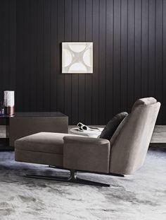 Chaise longue moderna / in tessuto / da interno / ad uso residenziale - SPENCER - Minotti