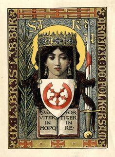 Ex libris by Emil Doepler(Ger)(1855-1922) for Armenius de Folkersam, 1900c.