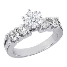 Round Diamond Engagement ring with four side diamonds 0.4 tcw. In 14K White Gold