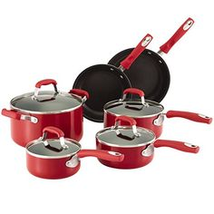 Guy Fieri Nonstick Aluminum 10pc Cookware Set Red * Trust me, this is great! Click the image. : Cookware Sets