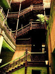 Bradbury stairway, Bradbury Building, L.A., CA