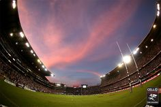 A stunning view of Growthpoint Kings Park Stadium from the half way line. Proud home to the Cell C Sharks South African Rugby, Super Rugby, Kings Park, The Cell, Shark Tank, Stunning View, Golf Courses, Sky, Sharks