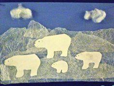 Polar Bear art using waxed paper overlays