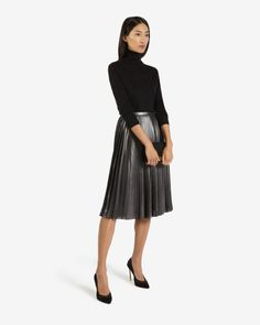 Metallic pleated skirt - Charcoal   Skirts   Ted Baker UK