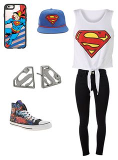 """""""Superman"""" by natasha-maria-louise-mason ❤ liked on Polyvore featuring Casetify, Noir, Frame Denim, Forever 21 and Converse"""