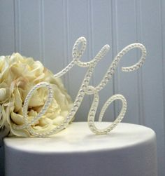 Pearl Monogram Wedding Cake Topper Decorated with a Single Line of Pearls in Any Letter A B C D E F G H I J K L M N O P Q R S T U V W X Y Z on Etsy, $30.00