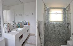 O banheiro dos pais de Gabriel tem tons neutros, com bancada com duas cubas e, no box, dois chuveiros