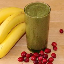 Creamy Banana-Cranberry Smoothie Recipe  1/2 cup fresh or frozen cranberries  Juice from 1/2 lime  2 frozen bananas, peeled and thawed slightly  1/2 orange, peeled and deseeded  1 teaspoon powdered cinnamon  2 cups chopped dandelion greens (or baby spinach)  4 to 6 ounces of filtered water (or coconut water)