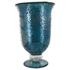 Turquoise Glass Mosaic Hurricane