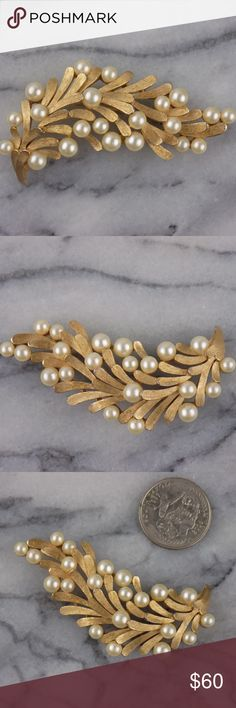VTG Trifari Crown Signed Gold Tone Brooch Vtg Trifari Crown Signed Gold Branch with Gold Tone Leaves & Faux Pearls Brooch Trifari Jewelry Brooches