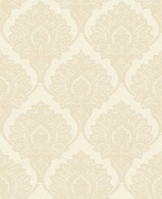 Casablanca (M0788) - Crown Wallpapers - A finely detailed faux silk brocade featuring a matt embossed damask on a soft sheen ground. Shown here in Ecru beige - more colours are available. Please request a sample for true colour match.