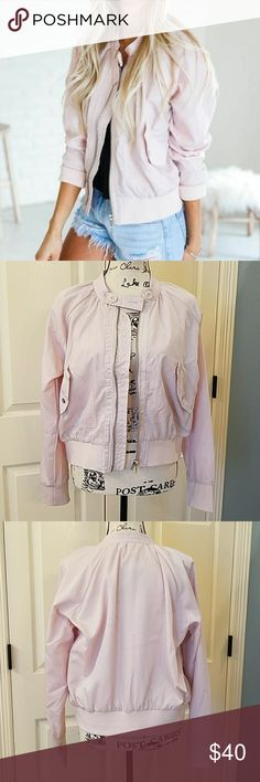 Free People Satin Bomber Jacket EUC Super cute, pale pink satin bomber jacket.  Only worn once.  Like new.  No flaws. Free People Jackets & Coats