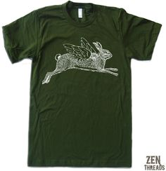 Items similar to Mens Winged RABBIT T Shirt s m l xl xxl (+ Color Options) on Etsy Tee Shirts, Tees, Man In Love, American Apparel, Wings, Real Men, Rabbits, Men's Clothing, Bunnies