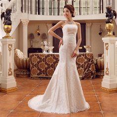 Veegol™  2014 New White Lace Bandage Backless Court Train Wedding Dresses