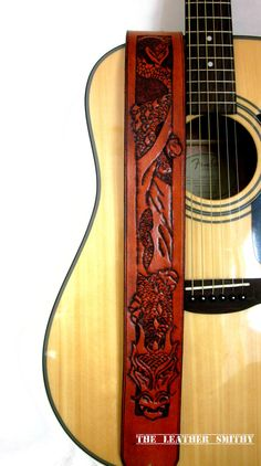 Dragon Guitar Strap Hand Tooled Leather Guitar by TheLeatherSmithy