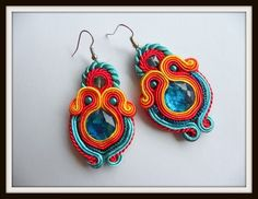 orange yellow azure soutache earrings