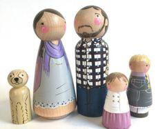 Famille de peg personnalisé de 6 / / 2 parents / / 4 par PegandPlum