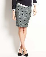 """Diamond Jacquard Pencil Skirt - Boldly patterned in a covetable diamond print, this is the skirt of the moment: slim, sleek and graphically cool. Elastic grosgrain waistband. Hidden back zipper with hook-and-eye closure. Back vent. Lined. 23"""" long."""