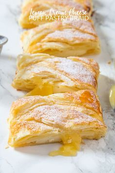 Lemon Cream Cheese Puff Pastry BraidThis Lemon Cream Cheese braid is ready in under 30 minutes! Flaky pastry filled with lemon curd and cream cheese to create a Puff Pastry Desserts, Puff Pastry Recipes, Cream Cheese Recipes, Lemon Desserts, Lemon Recipes, Dessert Recipes, Lemon Curd Dessert, Puff Pastries, Cream Cheeses