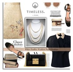 """White Endless Pearl Fashion Necklace"" by timelesspearl ❤ liked on Polyvore featuring RED Valentino, Gucci, Clarins and House of Holland"