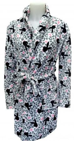 Playboy Bunny Gray Leopard Print Plush Robe Playboy Bunny e75344db9