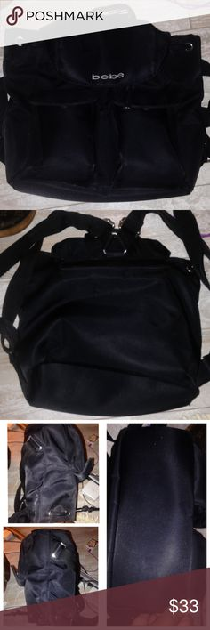 Bebe Sport Nylon Backpack Bebe Sport Nylon Backpack   PreLoved  Excellent  Snap closure   Adjustable shoulder straps   Stitching and corners tight bebe Bags Backpacks