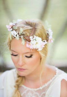 Bridal hair vine floral garland wedding flower by The Honeycomb - www.thehoneycomb.etsy.com. Custom couture-quality hair adornments.