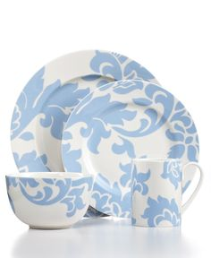 Martha Stewart Collection Dinnerware, Lisbon Blue Collection - Casual Dinnerware - Dining & Entertaining - Macys