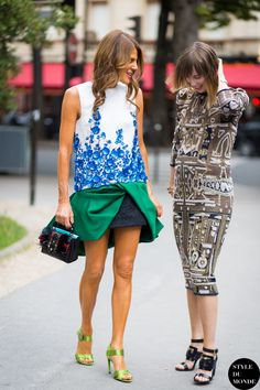 Anna Dello Russo and Anya Ziourova Street Style Street Fashion Streetsnaps by STYLEDUMONDE Street Style Fashion Blog--- I especially love Anya's printed midi dress