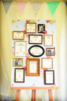 Adorable frames for a DIY seating chart #wedding #woodland #vintage #diywedding #seatingchart