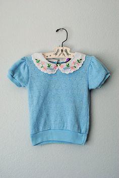 vintage ll toddler girl blue spring sweater.