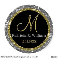 Shop Glitter Gold Silver Wedding Monogram Seals created by weddingimpressions. Personalize it with photos & text or purchase as is! Glitter Wedding Invitations, Wedding Envelopes, Wedding Invitation Design, Wedding Favors, Wedding Parties, Party Invitations, Monogram Wedding, Personalized Wedding, Monogram Stickers