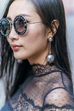 How To Wear Mules This Fall | Of Leather and Lace - A Fashion & Travel Blog by Tina Lee | Thistle & Spire Lace Bodysuit, Cult Gaia Bag, Gucci Round Sunglasses, sunglasses women, style inspiration, accessories jewelry, fashion blogger, style blogger