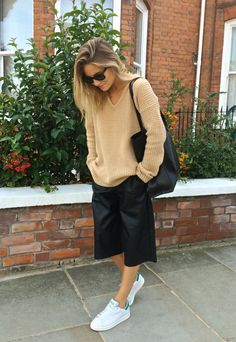 camel, culottes & Stan Smiths. cool. Lucy in London. #FashionMeNow