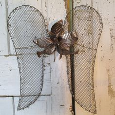 Wire mesh angel wings wall hanging rustic farmhouse rusty metal embellished vintage large salvaged flower.