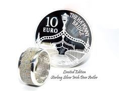 Irish coin ring, deer antler ring featuring a limited edition Irish silver coin