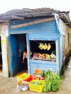 De samengestelde winkeltjes van platen, en hout, waar het Tropische fruit verkocht wordt. #voedsel